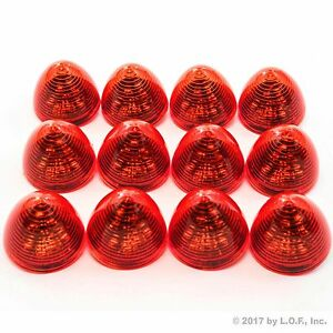 12 New 2 Red Led Beehive Side Clearance Marker Lights Trailer Auto Bright