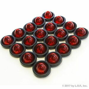20 New 2 Red Led Beehive Side Clearance Marker Lights W Grommet And Wiring