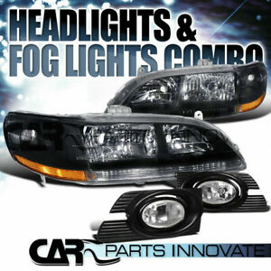 For 2001 2002 Honda Accord 4dr Sedan Jdm Black Crystal Headlights clear Fog Lamp