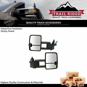 Trail Ridge Tow Mirror Power Heated Smoked Turn Signal Led Spotlight For Gm New