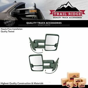 Trail Ridge Mirror Manual Led Spotlight Smoke Turn Signal Towing Pair For Gm New