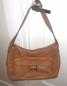 Caramel brown Purse Genuine Leather Franklin Covey Hpov boston Classic Bag t