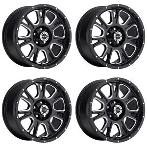 Set 4 17 Vision 399 Fury Black Milled Rims 17x8 5 5x5 25mm Jeep Wrangler 5 Lug