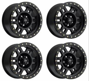 Set 4 15 Vision 398 Manx Matte Black Wheels 15x8 6x5 5 19mm 6 Lug Truck Rims