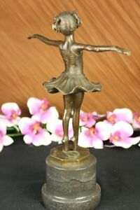 Hotcast Bronze Marble Figurine Girl Ballerina Signed Sculpture Home Decor