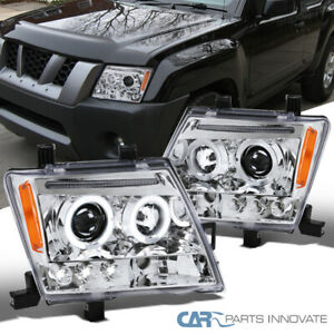 For 05 12 Nissan Xterra Clear Lens Halo Led Projector Headlights Head Lamps P