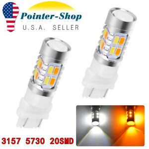 2x 3157 5730 20 Led Projector Dual Color Amber White Switchback Tail Brake Bulbs