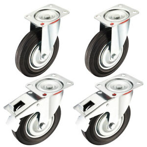 4 Pack 8 inch Rubber Caster Wheel 2 Brake 2 Swivel 507 Lbs Load Capacity Each