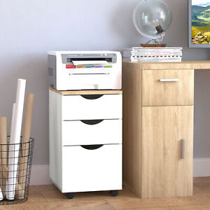 3 drawer Rolling Filing Cabinet File Storage Organizer Home Office White 13x18