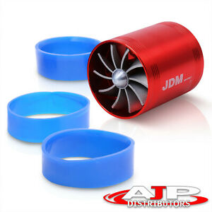 3 Racing Air Intake Turbonator Jdm Dual Fan Gas Fuel Saver Kit Red Honda