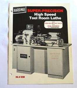 Hardinge Hlv em High Speed Tool Room Lathe Brochure