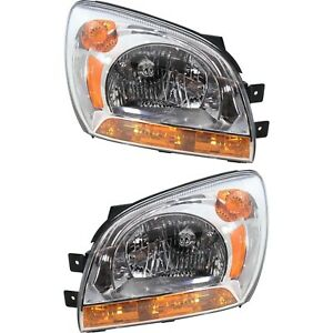 Headlight Set For 2005 2010 Kia Sportage Left And Right With Bulb Type 1 2pc