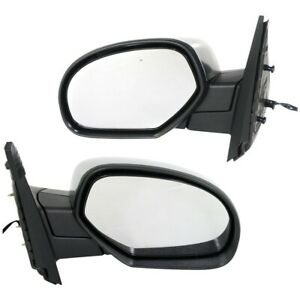 Side View Mirrors Power Heated Chrome Cap Left Right Pair Set For Chevy Gmc