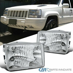 93 98 Jeep Grand Cherokee Replacement Clear Headlights Head Lights Lamps Pair