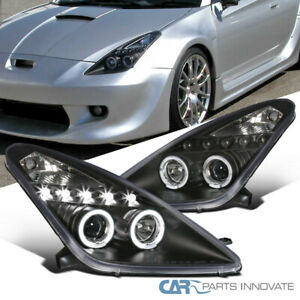 For Toyota 00 05 Celica Black Led Halo Projector Headlights Head Lights Lamps
