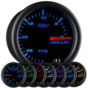 52mm Glowshift Black 7 Color Led Vacuum Gauge Meter