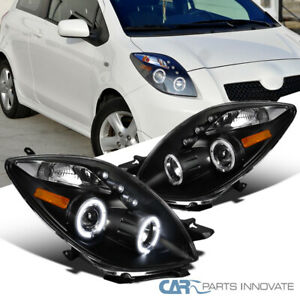 Toyota 06 08 For Yaris 2 3dr Hatchback Halo Projector Led Headlights Lamps Black