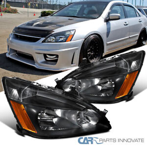 For 03 07 Honda Accord 2 4dr Black Replacement Headlights Amber Signal Lamps Set