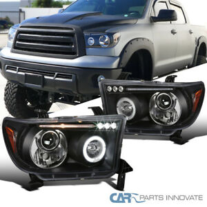 2007 2013 Toyota Tundra Sequoia Replacement Black Led Halo Projector Headlights
