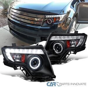 For 07 10 Ford Edge Black Led Drl Dual Halo Projector Headlights Head Lamps Pair