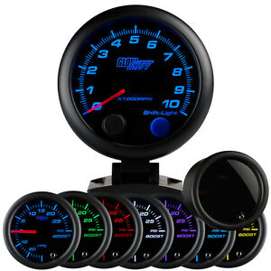 Glowshift 95mm Smoked Multi Color Led Tacho Rpm Rev Counter Dash Gauge