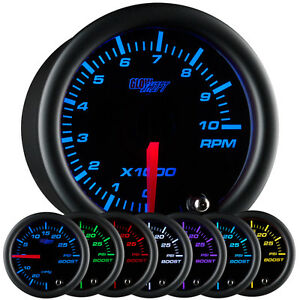 52mm Glowshift Black 7 Color Tacho Tachometer Gauge 10 000 Rpm