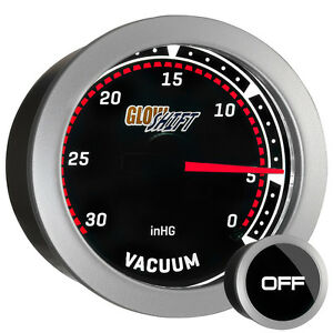 52mm Glowshift Tinted Lens Vacuum Inhg Gauge W Backlit White Led Illumination