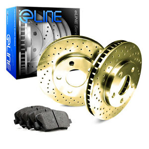2012 2016 Ford Focus Front Gold Drilled Brake Disc Rotors Ceramic Brake Pads