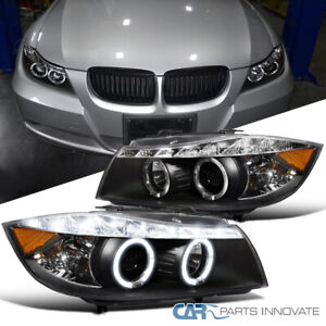 For 06 08 Bmw E90 3 Series 325i 330i 4dr Black Led Halo Projector Headlight Pair
