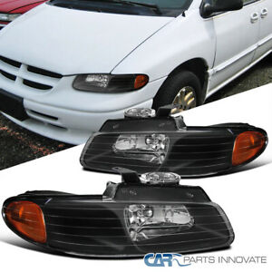 For 96 00 Dodge Caravan Town Country Voyager Black Headlights Lamps Left Right