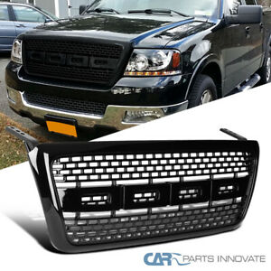 04 08 Ford F 150 Raptor Sport Style Black Abs Front Bumper Hood Grille Grill