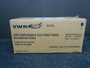Vwr 47729 574 Case Of 1000 pc Culture Tubes 15 X 85mm