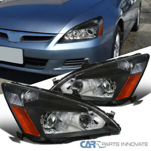 Fit 2003 2007 Honda Accord 2 4 Dr Black Retro Style Projector Headlights