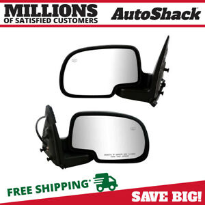 Power Heated W Puddle Light Side View Mirrors Pair L R For 02 07 Chevy Gmc Truck