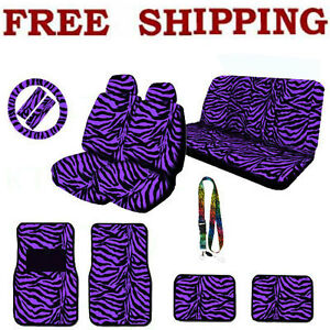 Full Set Purple Zebra Print Steering Wheel Seat Covers Floor Mats