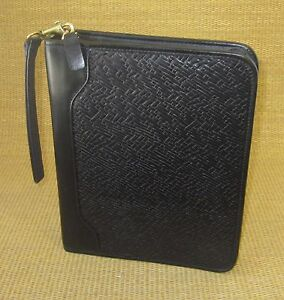 Classic 1 5 Rings Black Weave Leather Franklin Covey Zip Planner binder