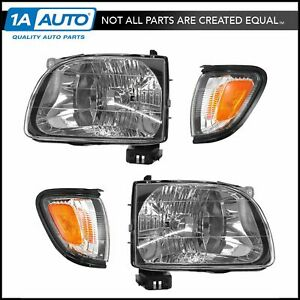 Headlight Parking Light Lamp Lh Rh 4 Piece Kit Black For 01 04 Tacoma Truck New