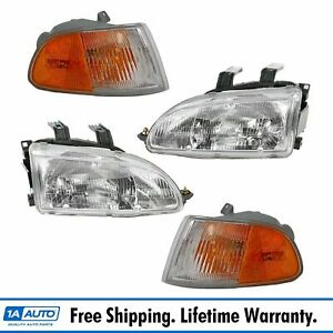 Headlight Lamp Parking Marker Corner Light Lh Rh 4 Piece Kit For Civic 2 Door
