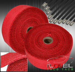 360 30ft Car Motorcycle Exhaust Pipe Header Heat Wrap Roll stainless Tie Red