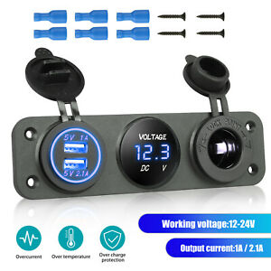 3in1 Dual Usb 3 1a Car Charger Socket Panel Blue Led Voltmeter Cigarette Lighter
