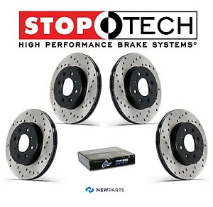 New Front Rear Drilled Brake Discs Rotors Kit Stoptech For Subaru Wrx 02 05