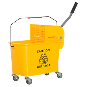 Mini Press Mop Bucket With Wringer 5 Gallon 20 Quart Rolling Yellow