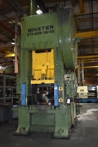 400 Ton Minster Straight Side Single Crank Press Planet Machinery Stock 5174