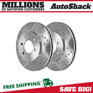 Front Drilled Slotted Disc Brake Rotors Pair 2 For Ford F 150 Lincoln Mark Lt V6