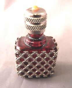 Vintage Miniature Perfume Bottle Silver Sleeve Ruby Purple Glass Collectible