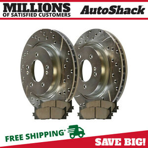 Front Set Drilled Slotted Brake Rotors And Ceramic Pads For 08 11 Toyota Avalon