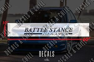 Battle Stance Japanese Sun Strip Visor Windshield Banner Decal Sticker Jdm