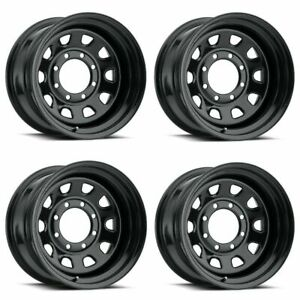 Set 4 16 Vision 84 D Window Black Wheels 16x8 8x6 5 6mm Chevy Dodge Gmc 8 Lug