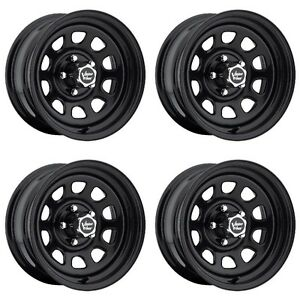 Set 4 17 Vision 84 D Window Black Rims 17x8 6x5 5 12mm Chevy Gmc K1500 6 Lug