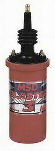 Msd 8223 Blaster 3 Ignition Coil Canister Round Oil Filled Red Ford Chevy Mopar